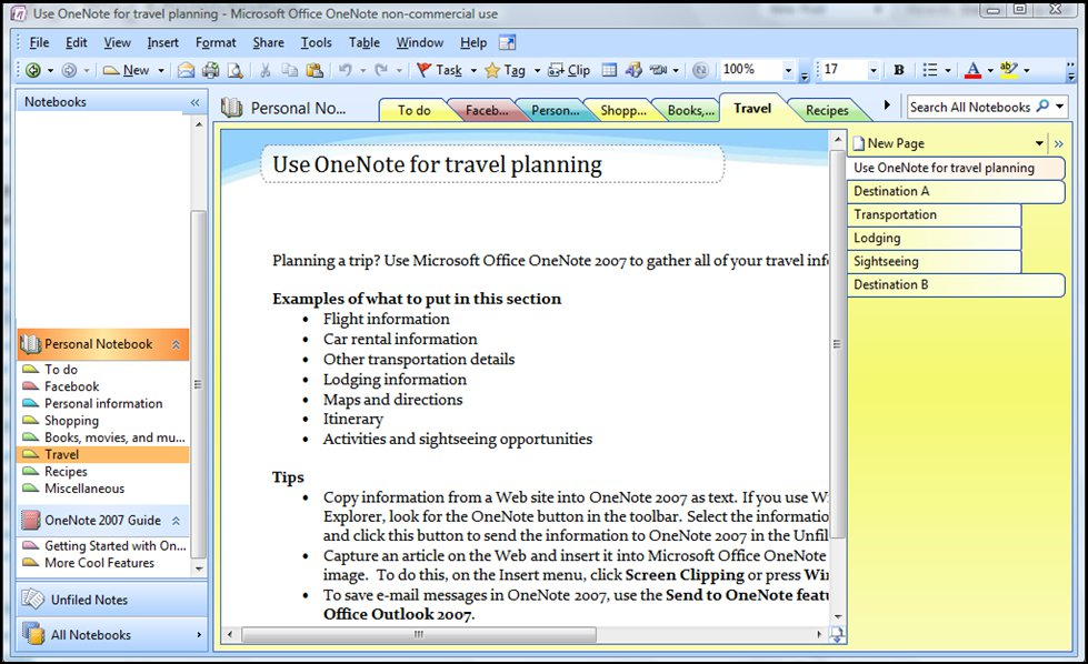 OneNote Screen Shot